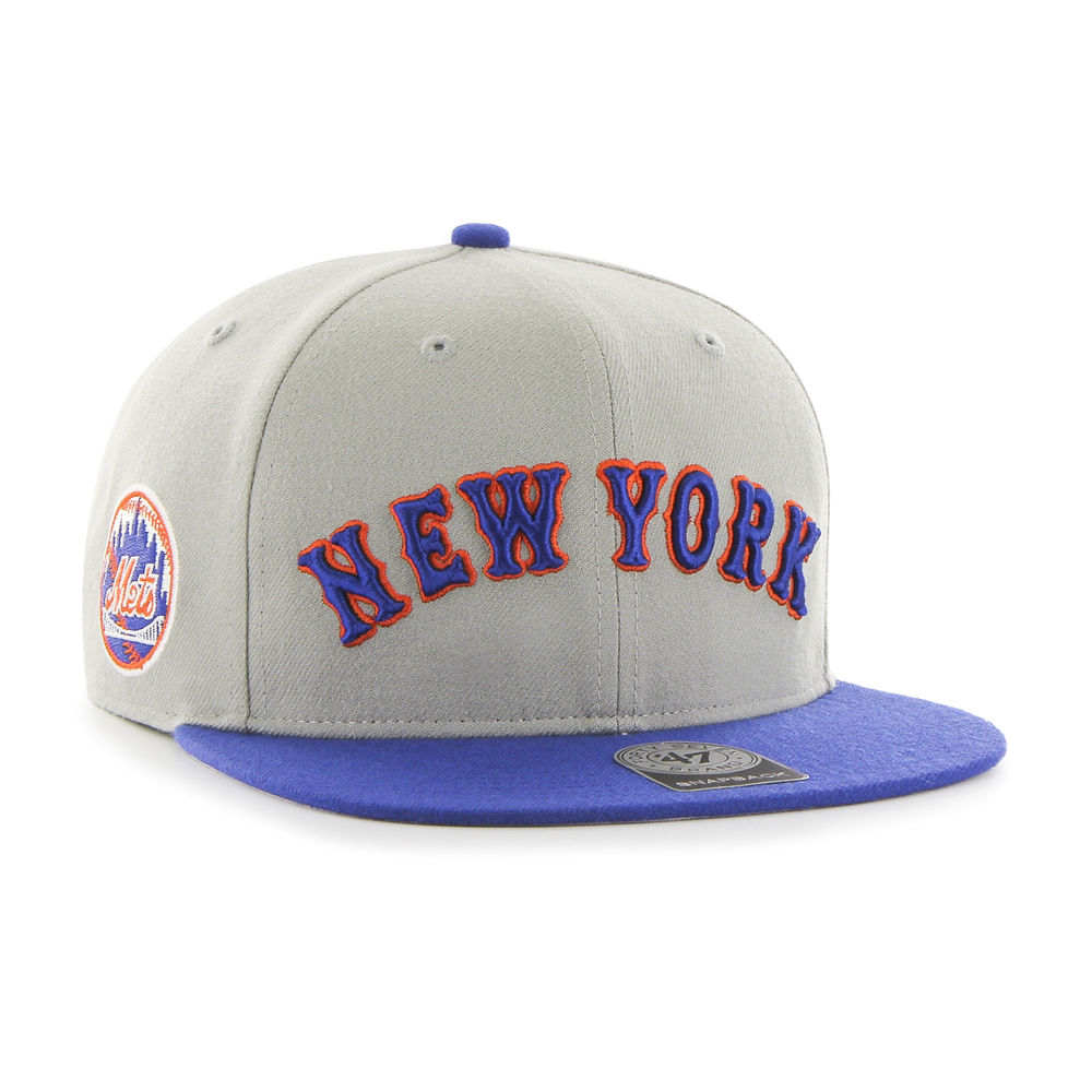 Mets Script Side Two Tone '47 CAPTAIN Gray
